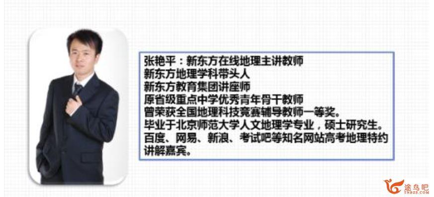 2021高考地理 张艳平地理二轮复习联报班课程视频百度云下载